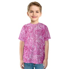 Pink Romantic Flower Pattern Denim Kids  Sport Mesh Tee by Ivana
