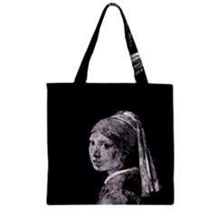 The Girl With The Pearl Earring Zipper Grocery Tote Bag by Valentinaart