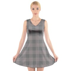 Plaid Pattern V Neck Sleeveless Skater Dress