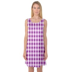 Plaid Pattern Sleeveless Satin Nightdress by ValentinaDesign