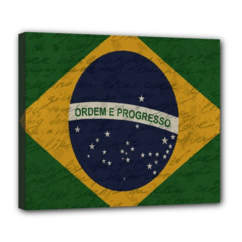 Vintage Flag   Brasil Deluxe Canvas 24  X 20   by ValentinaDesign