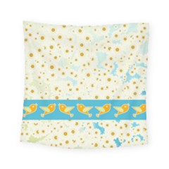 Birds And Daisies Square Tapestry (small) by linceazul