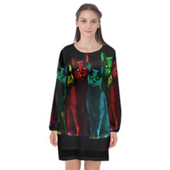 Cats Long Sleeve Chiffon Shift Dress