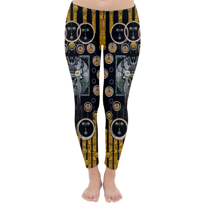 Foxy Panda Lady With Bat And Hat In The Forest Classic Winter Leggings