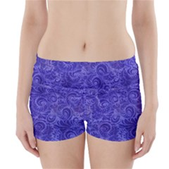 Vibrant Blue Romantic Flower Pattern Boyleg Bikini Wrap Bottoms by Ivana