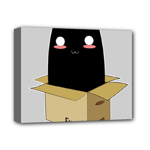 Black Cat In A Box Deluxe Canvas 14  X 11  by Catifornia
