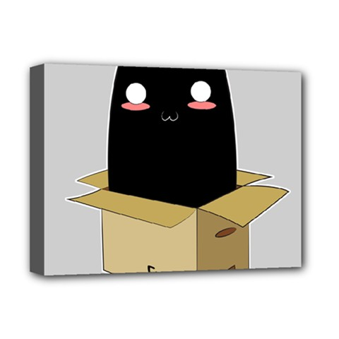 Black Cat In A Box Deluxe Canvas 16  X 12   by Catifornia