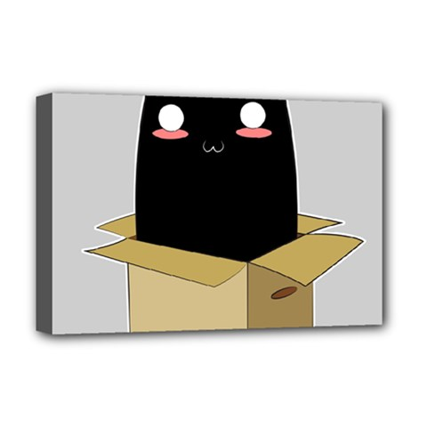 Black Cat In A Box Deluxe Canvas 18  X 12   by Catifornia