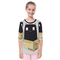 Black Cat In A Box Kids  Quarter Sleeve Raglan Tee