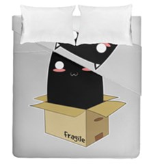 Black Cat In A Box Duvet Cover Double Side (queen Size) by Catifornia