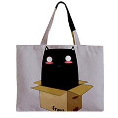 Black Cat In A Box Medium Zipper Tote Bag by Catifornia