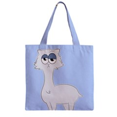 Grumpy Persian Cat Llama Zipper Grocery Tote Bag by Catifornia