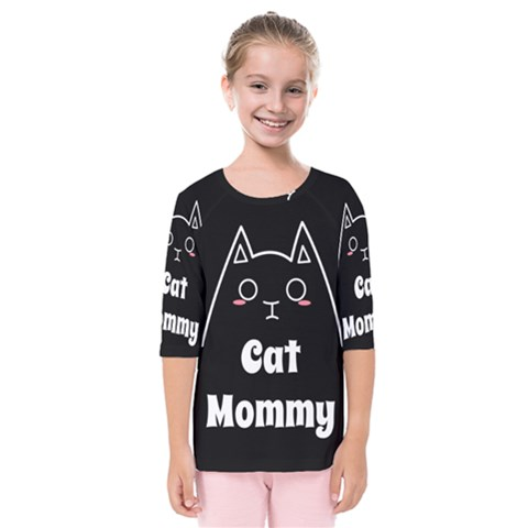 Love My Cat Mommy Kids  Quarter Sleeve Raglan Tee by Catifornia