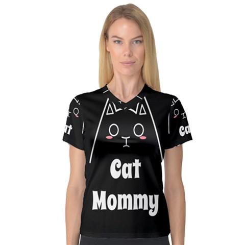 Love My Cat Mommy Women s V-neck Sport Mesh Tee by Catifornia