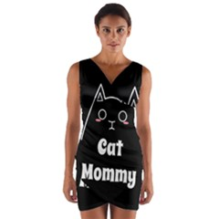 Love My Cat Mommy Wrap Front Bodycon Dress by Catifornia