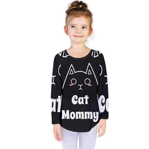 Love My Cat Mommy Kids  Long Sleeve Tee by Catifornia