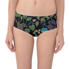Wreaths Flower Floral Leaf Rose Sunflower Green Yellow Black Mid-waist Bikini Bottoms by Mariart