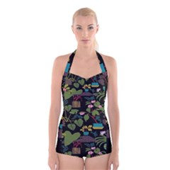 Wreaths Flower Floral Leaf Rose Sunflower Green Yellow Black Boyleg Halter Swimsuit  by Mariart