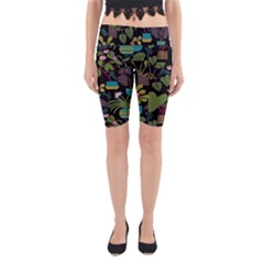 Wreaths Flower Floral Leaf Rose Sunflower Green Yellow Black Yoga Cropped Leggings by Mariart