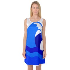 Blue Beach Sea Wave Waves Chevron Water Sleeveless Satin Nightdress by Mariart