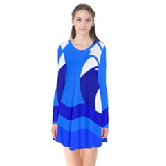 Blue Beach Sea Wave Waves Chevron Water Flare Dress by Mariart