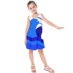 Blue Beach Sea Wave Waves Chevron Water Kids  Sleeveless Dress by Mariart