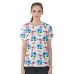 Animals Elephants Giraffes Bird Cranes Swan Women s Cotton Tee by Mariart