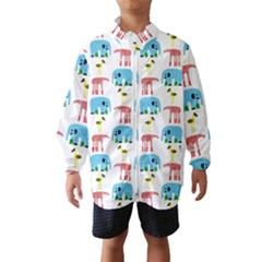 Animals Elephants Giraffes Bird Cranes Swan Wind Breaker (kids) by Mariart
