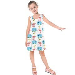 Animals Elephants Giraffes Bird Cranes Swan Kids  Sleeveless Dress by Mariart