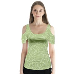 Blender Greenery Leaf Green Butterfly Sleeve Cutout Tee  by Mariart