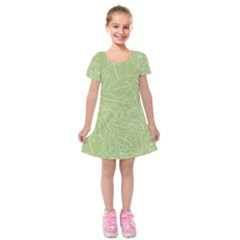 Blender Greenery Leaf Green Kids  Short Sleeve Velvet Dress by Mariart