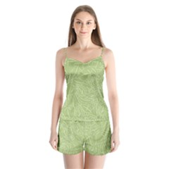 Blender Greenery Leaf Green Satin Pajamas Set