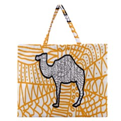 Animals Camel Animals Deserts Yellow Zipper Large Tote Bag by Mariart