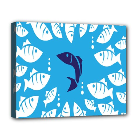Blue Fish Tuna Sea Beach Swim White Predator Water Deluxe Canvas 20  X 16   by Mariart