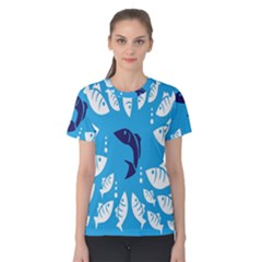 Blue Fish Tuna Sea Beach Swim White Predator Water Women s Cotton Tee by Mariart