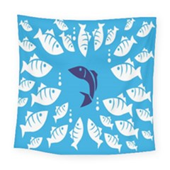Blue Fish Tuna Sea Beach Swim White Predator Water Square Tapestry (large)