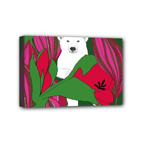 Animals White Bear Flower Floral Red Green Mini Canvas 6  X 4  by Mariart