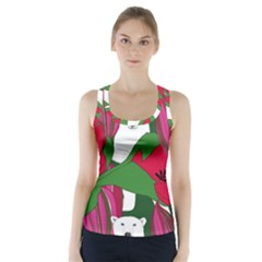 Animals White Bear Flower Floral Red Green Racer Back Sports Top