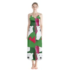 Animals White Bear Flower Floral Red Green Chiffon Maxi Dress by Mariart