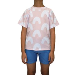 Donut Rainbows Beans Pink Kids  Short Sleeve Swimwear