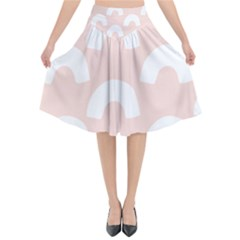 Donut Rainbows Beans Pink Flared Midi Skirt by Mariart