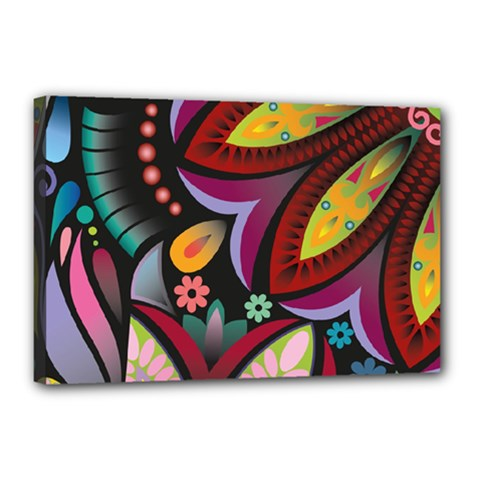 Flower Floral Sunflower Rose Color Rainbow Circle Polka Canvas 18  X 12  by Mariart