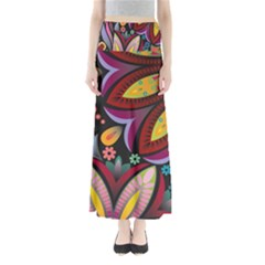 Flower Floral Sunflower Rose Color Rainbow Circle Polka Maxi Skirts by Mariart