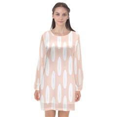 Donut Rainbows Beans White Pink Food Long Sleeve Chiffon Shift Dress  by Mariart