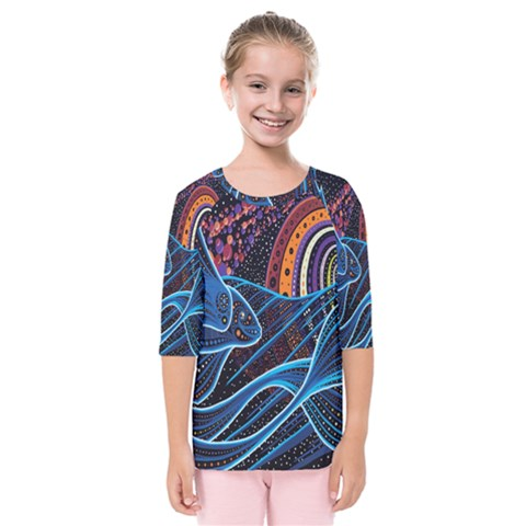 Fish Out Of Water Monster Space Rainbow Circle Polka Line Wave Chevron Star Kids  Quarter Sleeve Raglan Tee by Mariart