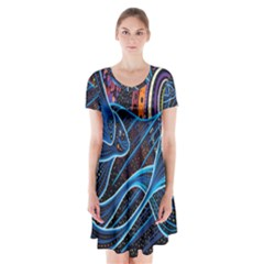 Fish Out Of Water Monster Space Rainbow Circle Polka Line Wave Chevron Star Short Sleeve V Neck Flare Dress by Mariart