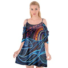 Fish Out Of Water Monster Space Rainbow Circle Polka Line Wave Chevron Star Cutout Spaghetti Strap Chiffon Dress