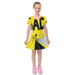 Have Meant  Tech Science Future Sad Yellow Street Kids  Short Sleeve Velvet Dress by Mariart