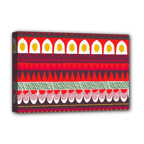Fabric Aztec Red Line Polka Circle Wave Chevron Star Deluxe Canvas 18  X 12   by Mariart