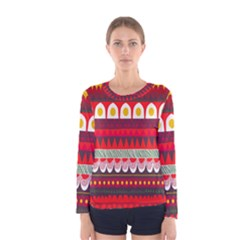 Fabric Aztec Red Line Polka Circle Wave Chevron Star Women s Long Sleeve Tee